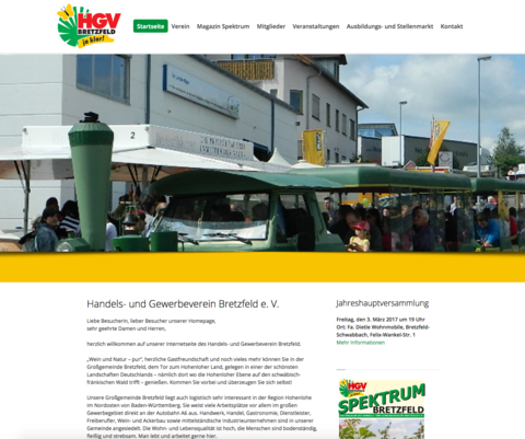 Screenshot Homepage HGV Bretzfeld